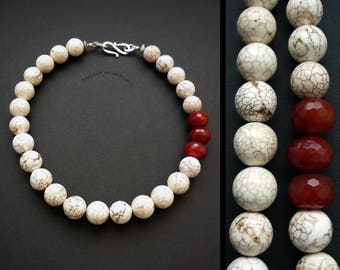 Necklace; White Matrix Web Howlite, Carnelian and sterling silver