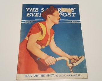 August 26, 1939 Saturday Evening Post Girl on a Bike Magazine