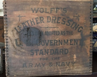 Wolff's Leather Shoe Dressing Wood Advertisement Crate  Rare