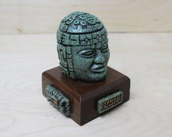 Vintage Malachite Cabeza Olmeca (Olmec Colossal Head) Figurine