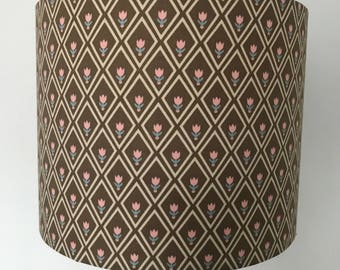 Brown Lampshade With Flower and Diamond Design