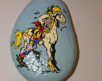 lucky luke painted stone