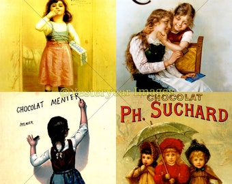 Vintage FRENCH CHOCOLATE Ads - Printable Digital Images - Collage Sheets - Instant Download - 3 PNG Files 4x4. 2x2. 1x1