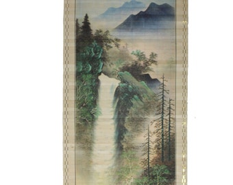 Vintage Asian Waterfall Landscape Wall Scroll Made in Taiwan