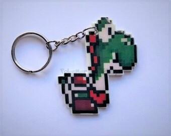 Super Mario World Yoshi Pixel Sprite Keychain