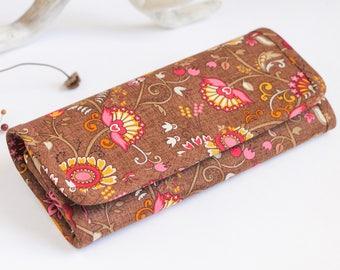 Long wallet, Wallet women, Womens wallets, Large womens wallet, Fabric purse, Brown wallet, Vegan wallet women, Floral wallet, Boho wallet
