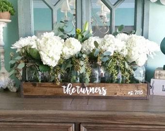 Lovely Farmhouse Wedding Centerpiece   Rustic Wedding Decor   Wedding Table Decor    Mason Jar Centerpiece