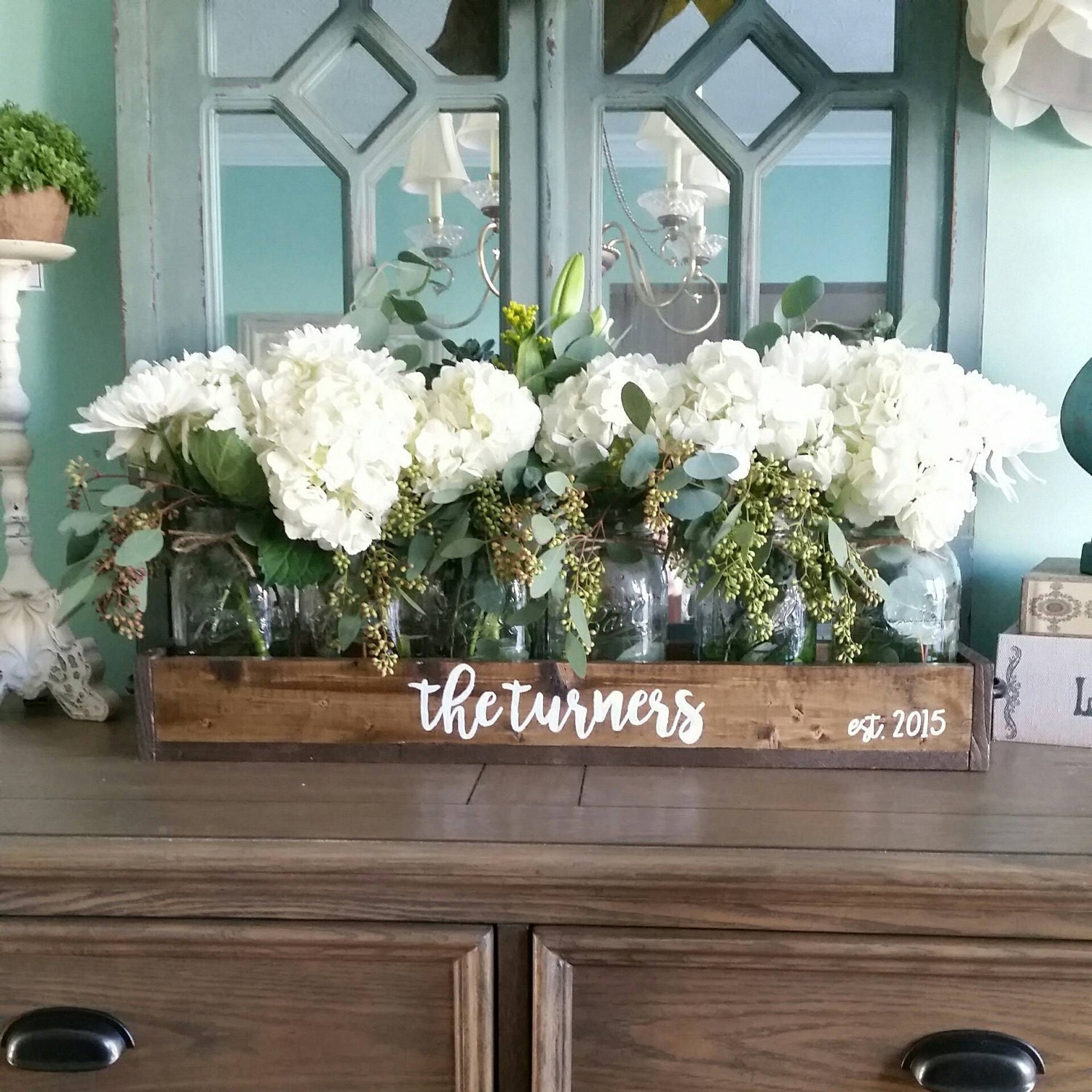 Mason jar table decor centerpiece rustic home