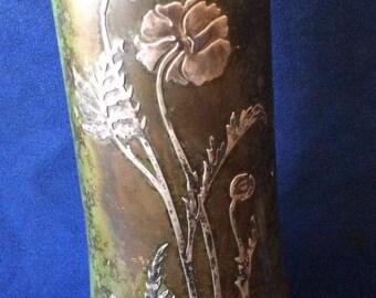 Vintage Sterling on Bronze Heintz Art Noveau Vase 1912 *SS302