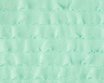 Mint Tiered Ruffle Fabric by the yard