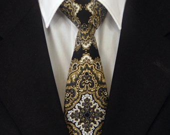 Black Necktie, Black Tie, Mens Necktie, Mens Tie, Gold Necktie, Gold Tie, Black Gold Necktie, Black Gold Tie, Father, Dad, Gift, Christmas
