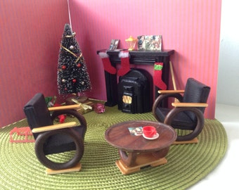 Dollhouse miniature furniture, scale 1:12, livingroomset,midcentury,christmas