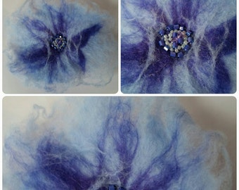 Wet felted flower brooch with beaded centre