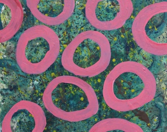 Pink Circles, abstract painting