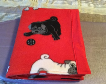 Handmade flannel and fleece pet blanket, pugs