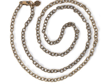"Small Link Chain 24"" Necklace - Antiqued Imitation Gold (IP061)"
