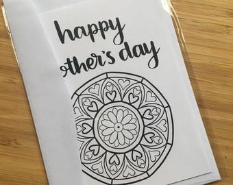 "CARD - ""happy mother's day"" mandala colouring in mother's day card"