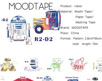 Robot Washi Tape Robot,scrapbook stickers,DiY,Paper Decorative masking Tape