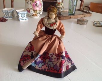 Vintage handmade collector fabric doll with stand 1960s rag doll