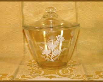 Vintage Fire King Range Set Grease Jar - Splash Proof, White Rose design with Lid - 1950's
