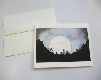 art card, watercolor print, blank gift card, greeting card, birthday note card, moon art, dark tree silhouette, moon through trees