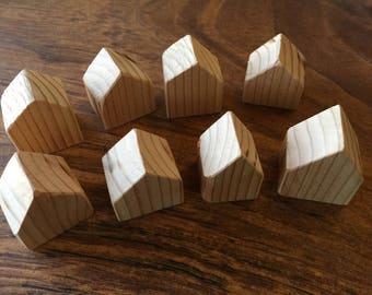 Set of 8 Small Wooden Houses, Unfinished