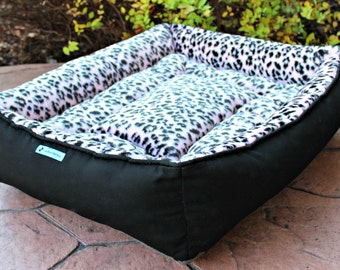 Dog Bed ~ Medium Pet Bed ~ Pink and Black Cheetah Print ~ Handmade Stuffed Dog or Cat Bed with Ultra Plush Faux Fur ~ Washable and Durable
