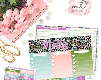 May Floral Notes Page    Planner Stickers    Erin Condren Life Planner