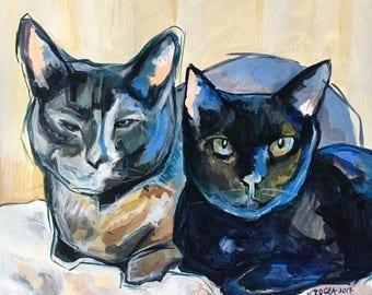 Custom Pet Portrait - Two Pets together