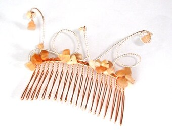 Love hair comb, Moonstone hair comb, Love wirework hair comb, Love accessory, Moonstone gemstones, Hair comb rose gold,