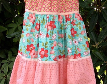 Girls Peach Polka Dot and Floral Dress, size Eight