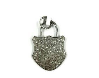 Pave Diamond Lock Pendant , Diamond Lock Pendant , Lock Diamond Charm , Diamond Pedlock Pendant , Diamond Pedlock charm