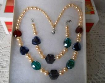 Vintage Pearl Glass Colored Crystal Necklace Bracelet Set #928