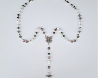Sage, White and Taupe / Clover Rosary