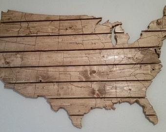 USA Map Large Wooden Wall Art