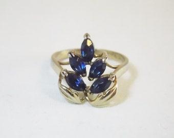 Blue Rhinestone Silver Tone 6.5 Ring Grapes Blue Grapes Marquise Rhinestones  Silver Tone Ring Rhinestone ring Blue Ring Blue Stone