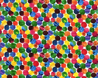 Rainbow polka dot fabric - Eric carle fabric - The very hungry caterpillar fabric - 100% Cotton fabric - Quilting fabric - Childrens fabric