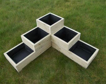 Large Wooden Planter/Corner Planter/ Flower Planter / Herb Planter / 3 Tier