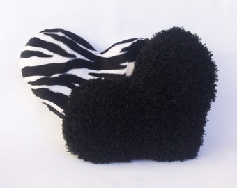 Decorative Heart Pillow Set 11x13 in. Faux Fur Zesty Zebra & Night Black