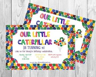 The Very Hungry Caterpillar Birthday Party Invitation Printable Boy Girl