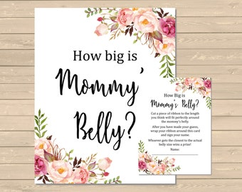Boho How Big is Mommy's Belly Printable, Floral Mommy's Belly Game, Boho Peonies Mommy's Belly Activity, DIY Game, Instant Download, 025-W