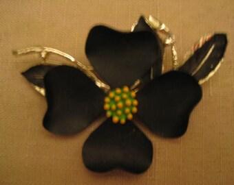 Dogwood Flower Brooch Black Enamel Yellow Enamel Green Enamel Gold Tone Metal