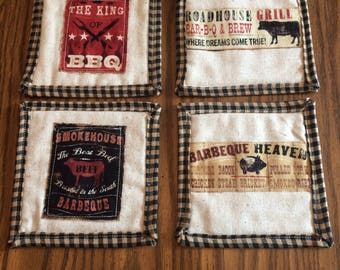 Quilted BBQ Mug Rugs