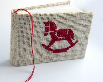 Embroidered notebook with toy - Small eco notebook with toy horse - Recycled eco-friendly soft notebook - Child gift
