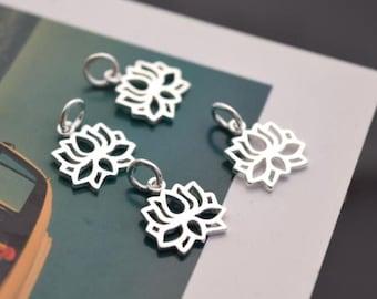 4 pcs sterling silver lotus charm pendant flower , ZY1