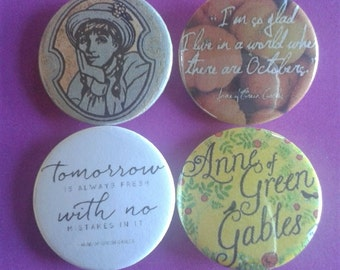 Set of 4 25mm Anne of Green Gables badges