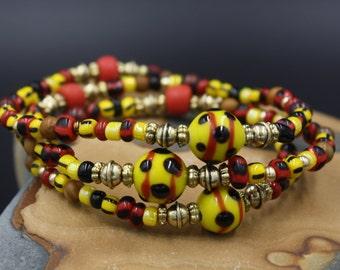 Women's Beaded Bracelet, 100 Yr. Old Venetian Glass, Handmade Lampwork Beads, Jasper Stones, Bi-Colored Seeds, Covent Garden Bracelet