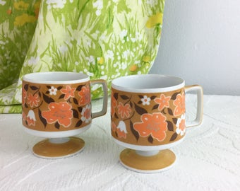 Retro Pedestal Coffee Mugs