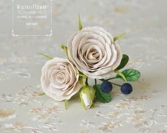 Rose hair pin Wedding Hair Pins Bridal Flower hair pin Woodland Head Piece Bridal Accessories Hair pins Beige wedding Roses hair clip floral