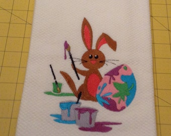 Easter Bunny Painting Easter Egg from Paint Pots! Embroidered Williams-Sonoma All Purpose Kitchen Towel, Made in Turkey, Extra Large
